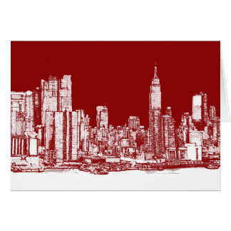 New York skyline postcard red Greeting Cards