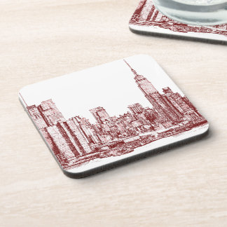 New York skyline red drawing Coasters