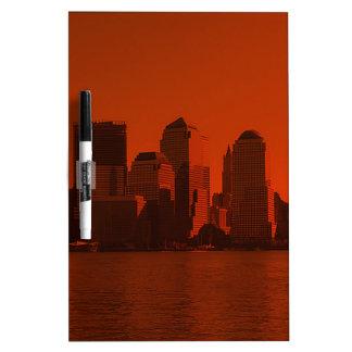 new york, skyline, red dry erase board