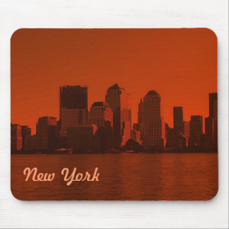 new york, skyline, red mouse pad