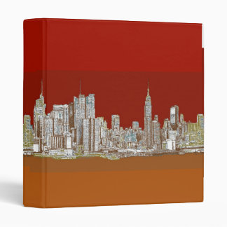 New York skyline red rust 3 Ring Binder