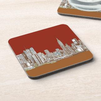 New York skyline red rust Beverage Coasters
