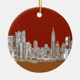 New York skyline red rust Ceramic Ornament