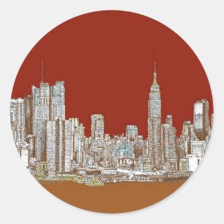 New York skyline red rust Classic Round Sticker