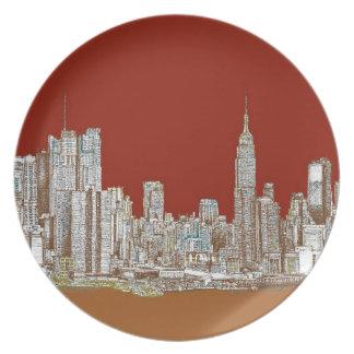 New York skyline red rust Dinner Plate