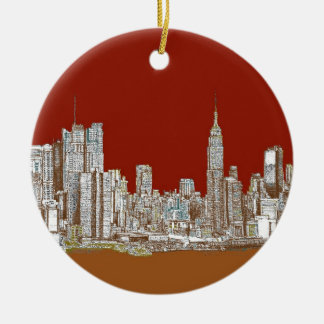 New York skyline red rust Double-Sided Ceramic Round Christmas Ornament
