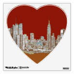 New York skyline red rust Room Sticker