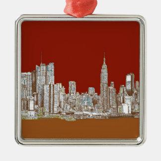New York skyline red rust Square Metal Christmas Ornament