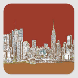 New York skyline red rust Square Sticker