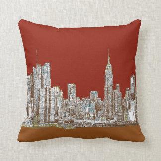 New York skyline red rust Throw Pillow