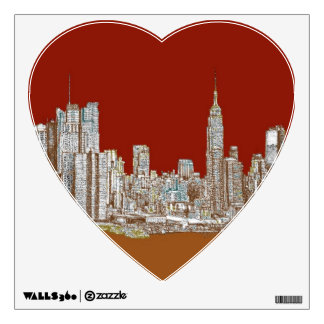 New York skyline red rust Wall Decal