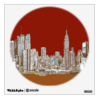 New York skyline red rust Wall Sticker