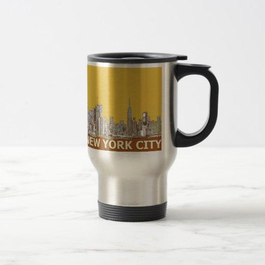New York skyline saffron Travel Mug