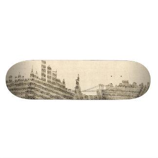 New York Skyline Sheet Music Cityscape 20.6 Cm Skateboard Deck