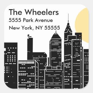 New York Skyline Silhouette Address Label