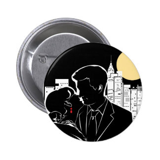 New York Skyline Silhouette Pinback Buttons