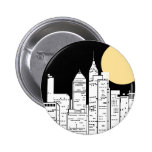 New York Skyline Silhouette Button