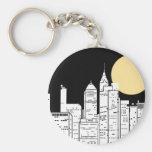 New York Skyline Silhouette Keychain