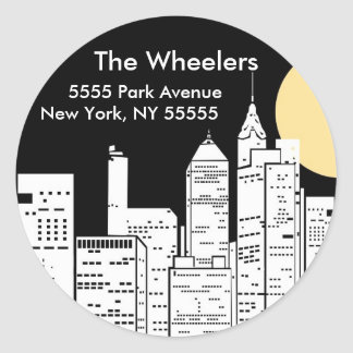 New York Skyline Silhouette Round Sticker