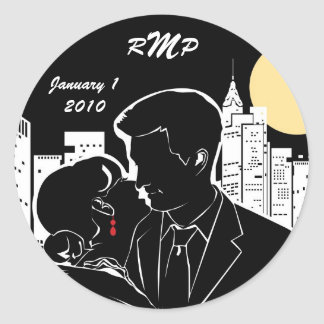 New York Skyline Silhouette Classic Round Sticker