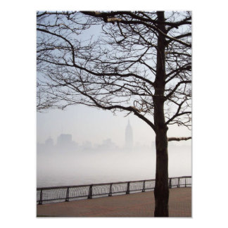 New York Skyline Silhouette through Tree Branches Photo Print