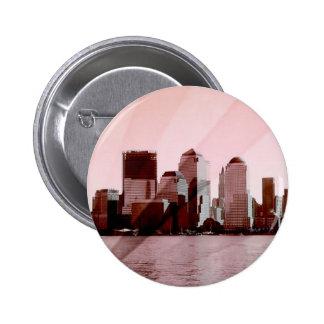 new york, skyline, soft pink pinback buttons