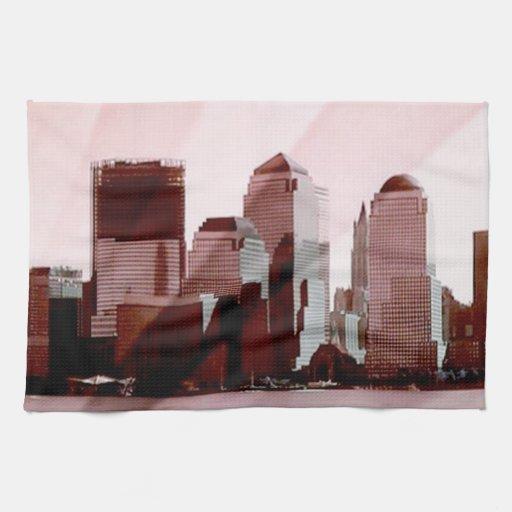 new york, skyline, soft pink hand towels
