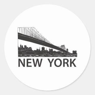 New York Skyline Round Stickers