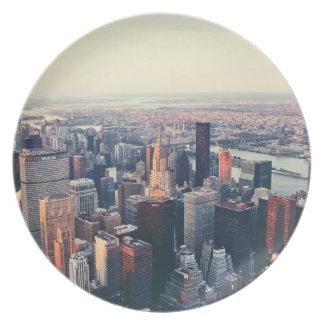 New York skyline sunrise Plate