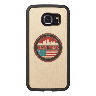 New York Skyline   United States Flag Wood Phone Case