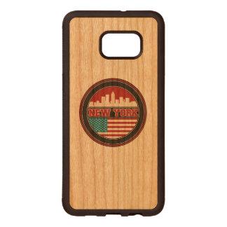 New York Skyline   United States Flag Wood Samsung Galaxy S6 Edge Case