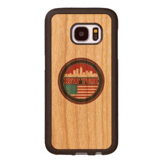 New York Skyline   United States Flag Wood Samsung Galaxy S7 Case