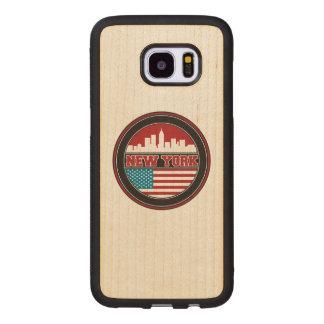 New York Skyline   United States Flag Wood Samsung Galaxy S7 Edge Case