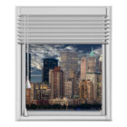 New York Skyline View Fake Window With Blinds Poster