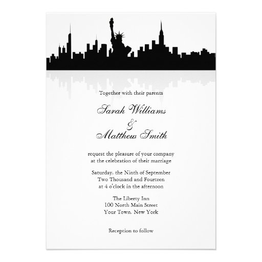 New york skyline wedding invitations 5quot x 7quot invitation for Wedding invitation companies nyc