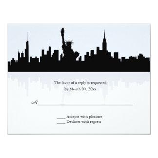 "New York Skyline Wedding RSVP 4.25"" X 5.5"" Invitation Card"