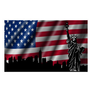 New York Skyline with American Flag Background Pos Poster