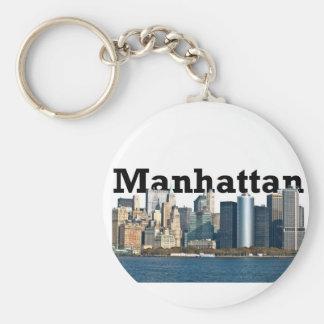 "New York skyline with ""Manhattan"" in the sky above Keychain"