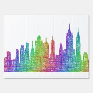New York skyline Lawn Signs