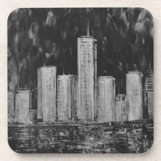 New York Skyscrapers in Oil Coaster set of 6