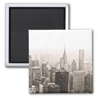 New York Snow 2 Inch Square Magnet