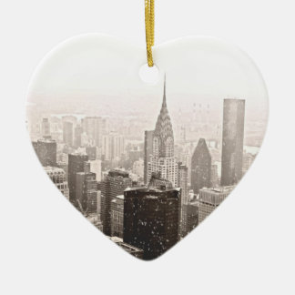 New York Snow Ceramic Ornament