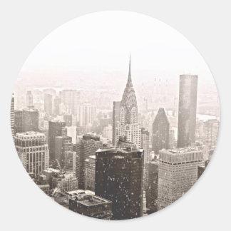 New York Snow Classic Round Sticker