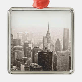 New York Snow Metal Ornament