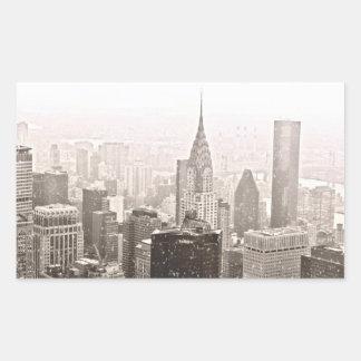 New York Snow Rectangular Sticker