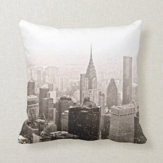 New York Snow Throw Pillow