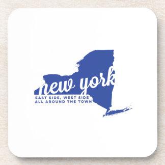 new york | song lyrics | blue beverage coaster