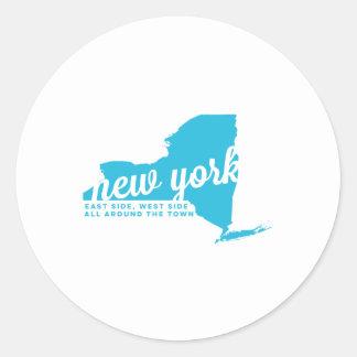 new york   song lyrics   sky blue classic round sticker