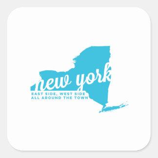 new york   song lyrics   sky blue square sticker