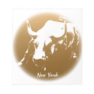 New York Souvenir Notepad Cool Bull Statue Notepad